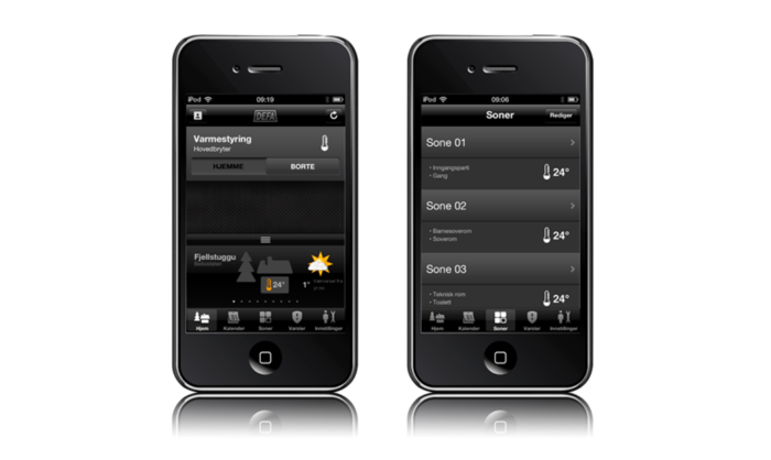 The DEFA link app interface displayed in two Smartphone screens