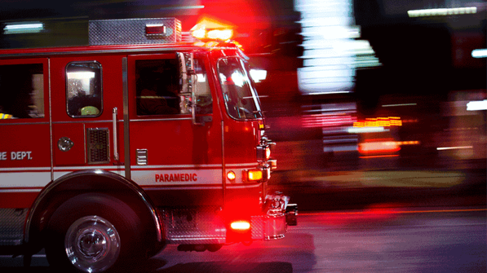 A firetruck rushing by at speed