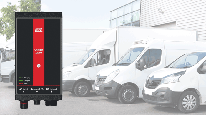MultiCharger 40A in front of light commercial vehicles of various vehices