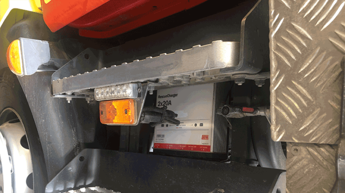 Battery charger mounted on fire truck