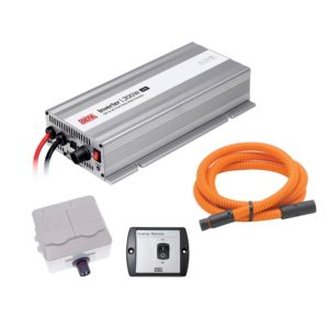 DEFA InverterKit 300W/12V, consisting of an inverter, a double power outlet, a coiled extension cable, and a remote control panel