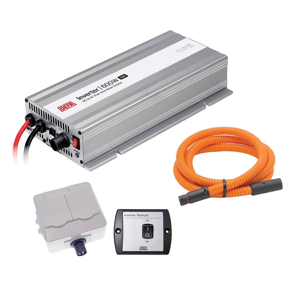 DEFA InverterKit 600W/12V, consisting of an inverter, a double power outlet, a coiled extension cable, and a remote control panel