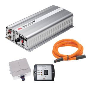 DEFA InverterKit 1500W/12V, consisting of an inverter, a double power outlet, a coiled extension cable, and a remote control panel