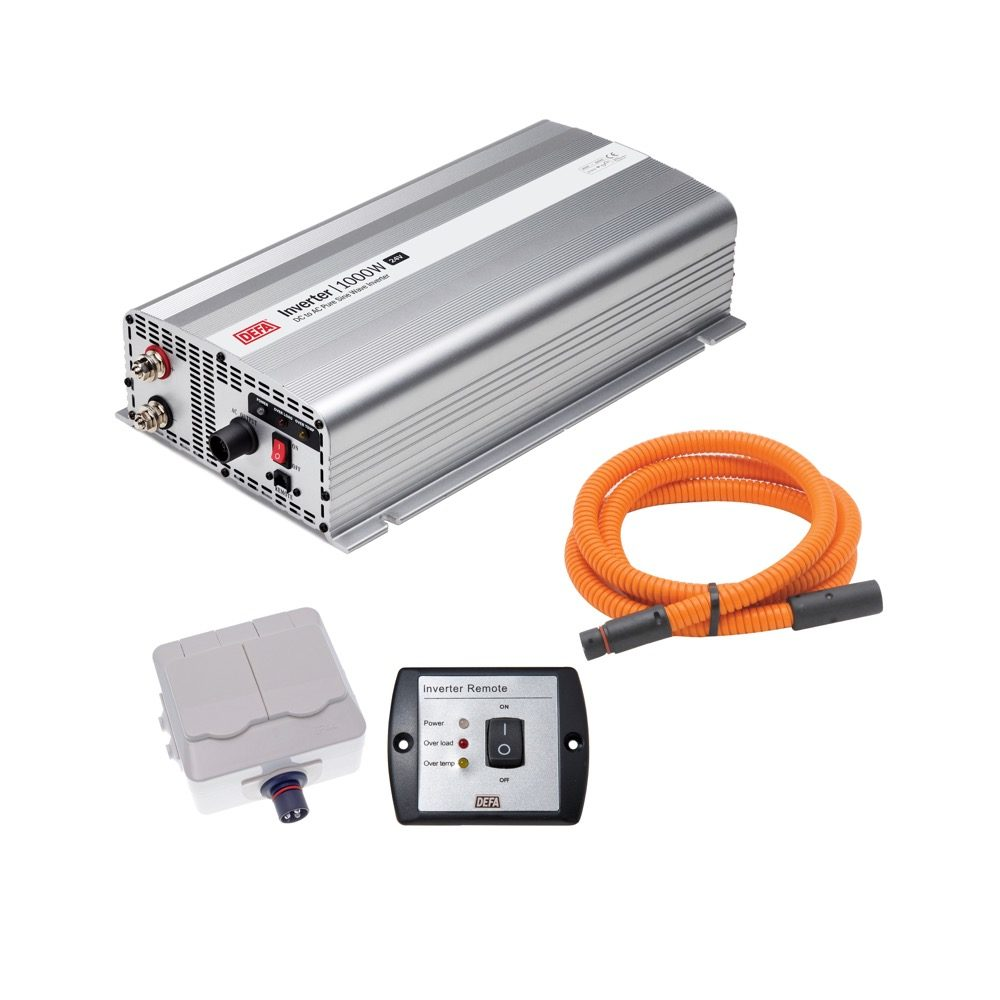 DEFA InverterKit 1000W 24V, consisting of an inverter, a double power outlet, a coiled extension cable, and a remote control panel