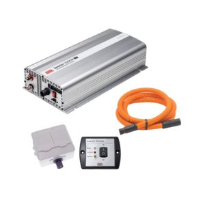 DEFA InverterKit 1500W 24V, consisting of an inverter, a double power outlet, a coiled extension cable, and a remote control panel