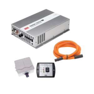 DEFA InverterKit 2000W 24V, consisting of an inverter, a double power outlet, a coiled extension cable, and a remote control panel