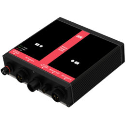 DEFA onboard RescueCharger 2x20A, angled to expose IO ports