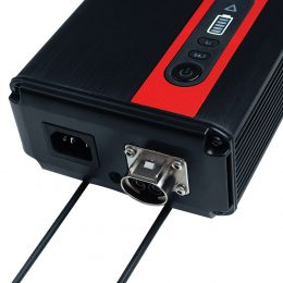 Workshop Charger 2.0 35A, close cropped to focus on cable outlets and operating buttons
