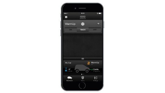 DEFA WarmUp app, bluetooth control function